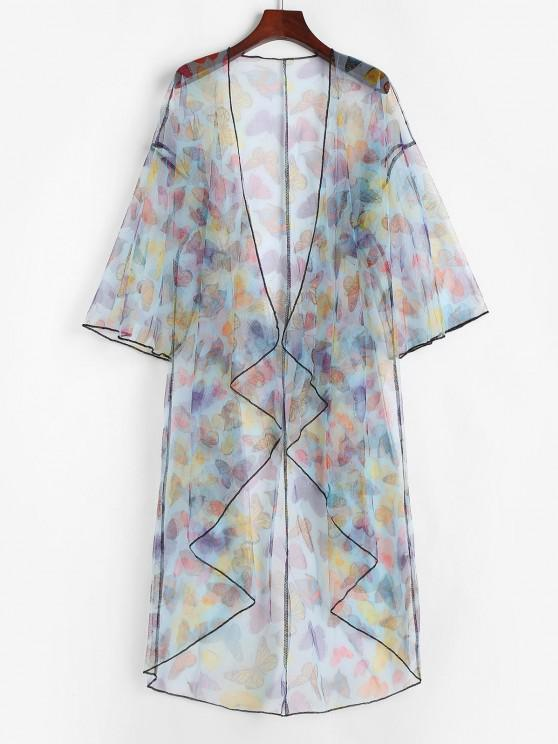 outfit Lace Butterfly Print Drop Shoulder Longline Cover Up Top - MULTI ONE SIZE