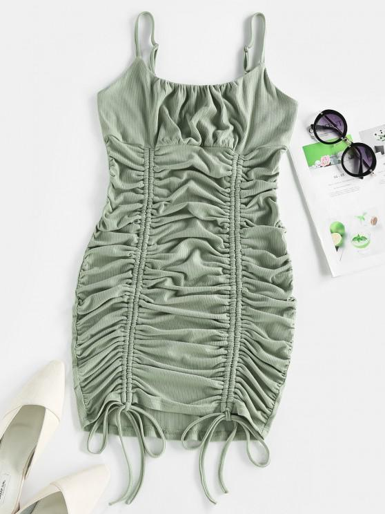 shop ZAFUL Ribbed Cinched Ruched Bust Bodycon Dress - DARK SEA GREEN M