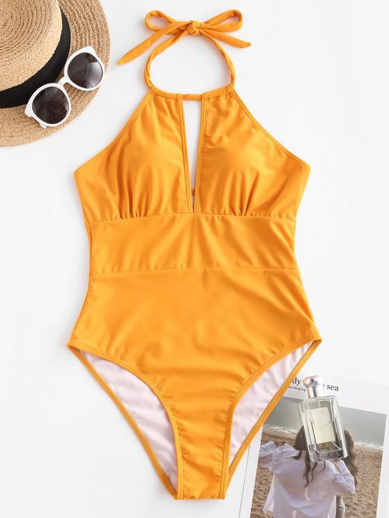 sale ZAFUL Halter Cutout One-piece Swimsuit - DEEP YELLOW L