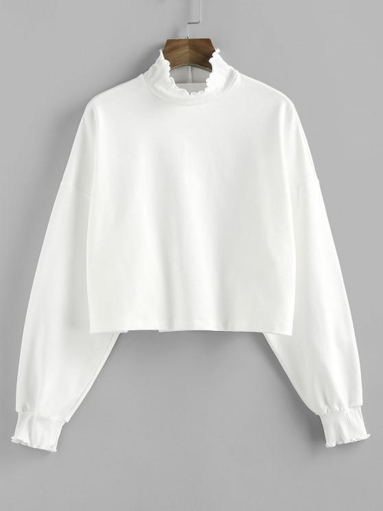 best ZAFUL Ruffle High Neck Drop Shoulder Sweatshirt - WHITE M