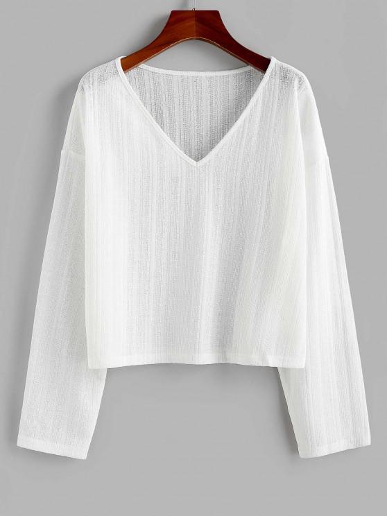 ZAFUL V Neck Drop Shoulder Jumper Knitwear - أبيض S