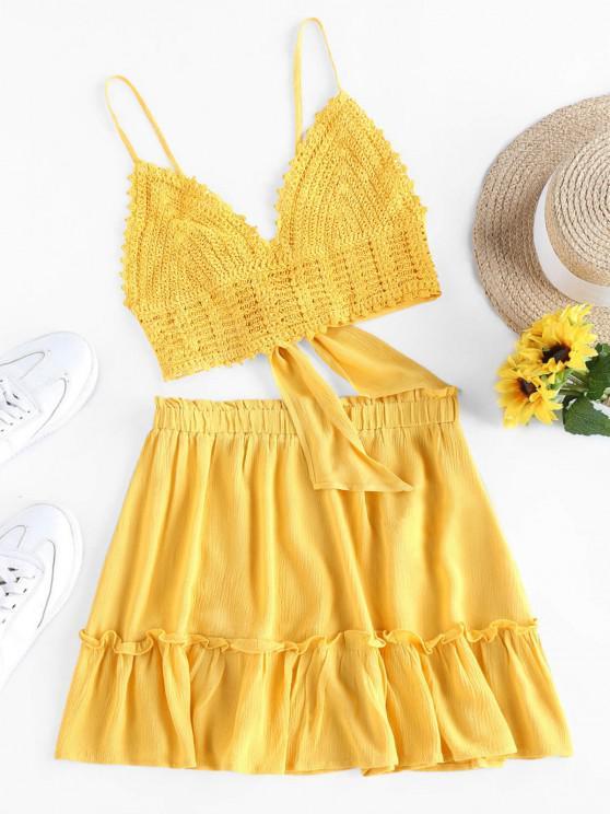 ladies Olivia Messler X ZAFUL Crochet Tie Back Frill Skirt Set - YELLOW S