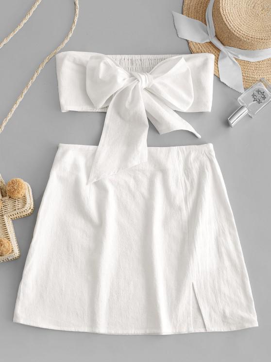 best Olivia Messler X ZAFUL Tie Front Smocked Slit Two Piece Suit - MILK WHITE L