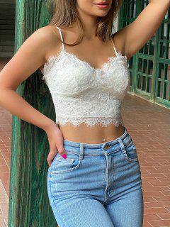 Cami Scalloped Lace Tank Top - White M