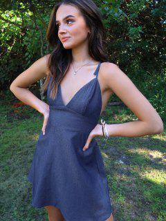 Olivia Messler X ZAFUL Open Back Tie Shoulder Chambray Mini Dress - Denim Blue S