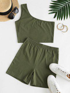 One Shoulder Two Piece Shorts Set - Green M