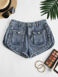Flap Pockets Denim Cargo Shorts - Blue L