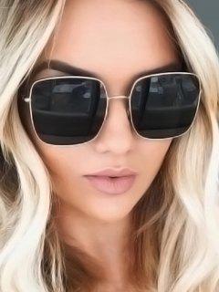 Square Metal Beach Sunglasses - Black