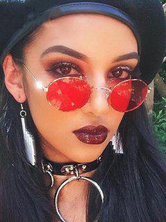 Metal Frame Retro Oval Sunglasses - Red