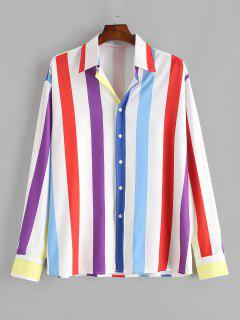 Colorful Striped Print Button Up Shirt - White M