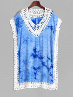 Tie Dye Crochet Insert Tunic Beach Dress - Blue