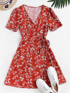 Vネック小さな花ラップドレス - 赤 S