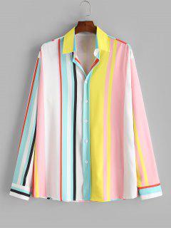 Button Up Rainbow Striped Print Shirt - Milk White Xl