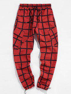 ZAFUL Checkered Flap Pocket Toggle Elastic Waist Pants - Red Xl