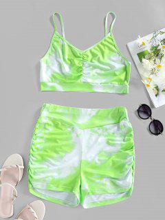 ZAFUL Tie Dye Ruched High Waisted Sports Shorts Set - Light Green M