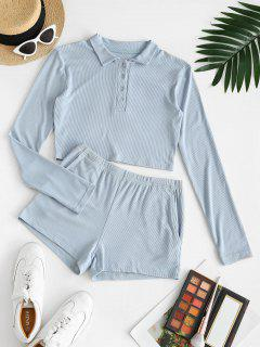 Pockets Button Front Ribbed Two Piece Set - Light Blue S
