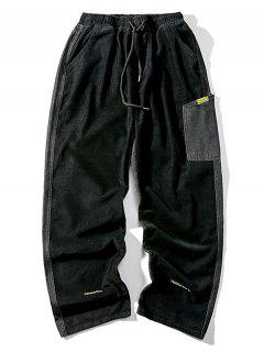 Letter Embroidery Jean Corduroy Panel Pants - Black M