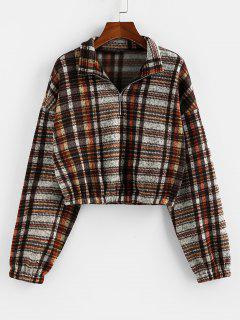 ZAFUL Plaid Half Zip Drop Shoulder Pullover Sweatshirt - Khaki S