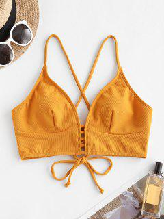 ZAFUL Textured Strappy Crisscross Lace-up Bikini Top - Deep Yellow Xl