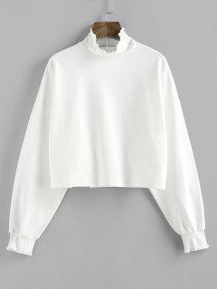 ZAFUL Ruffle High Neck Drop Shoulder Sweatshirt - White S