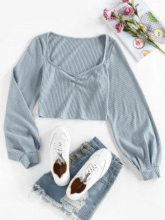 ZAFUL Sweetheart Neck Ribbed Crop Tee - Blue Gray M