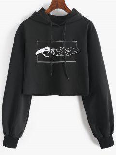 Skeleton Hand Drawstring Crop Hoodie - Black L