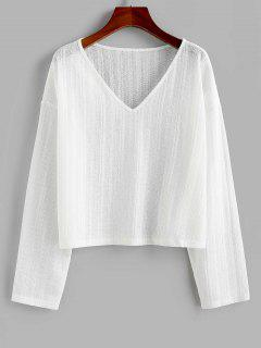 ZAFUL V Neck Drop Shoulder Jumper Knitwear - White M