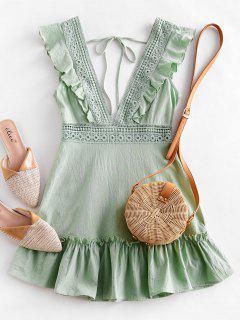 Olivia Messler X ZAFUL Plunge Crochet Panel Ruffle Dress - Pistachio Green Xl