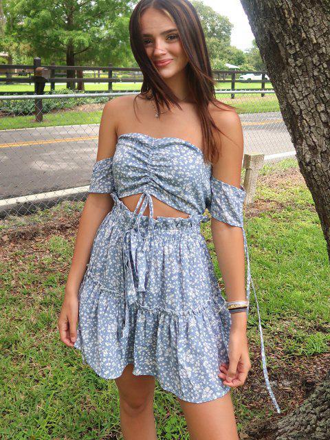 best Olivia Messler X ZAFUL Ditsy Print Cinched Smocked Off Shoulder Frilled Skirt Set - SEA BLUE XL Mobile