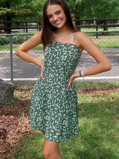 trendy Olivia Messler X ZAFUL Ditsy Print Tie Shoulder Sleeveless Dress - SEA TURTLE GREEN S Mobile