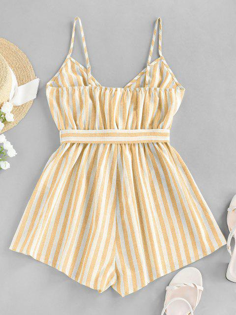 outfits ZAFUL Striped Belted Cami Wide Leg Romper - MULTI-B L Mobile