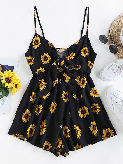 new ZAFUL Sunflower Tie Knot Loose Romper - BLACK S Mobile