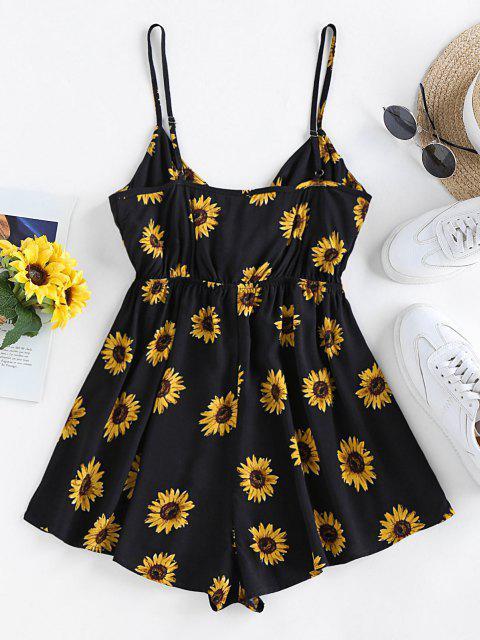 women's ZAFUL Sunflower Tie Knot Loose Romper - BLACK M Mobile