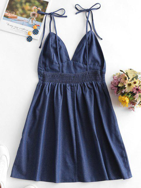 women's Olivia Messler X ZAFUL Open Back Tie Shoulder Chambray Mini Dress - DENIM BLUE S Mobile