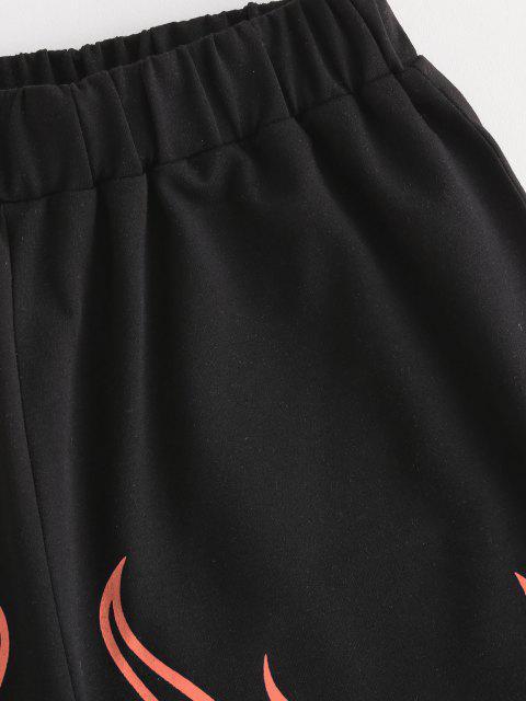 womens Flame Print High Waisted Sweat Shorts - ORANGE L Mobile