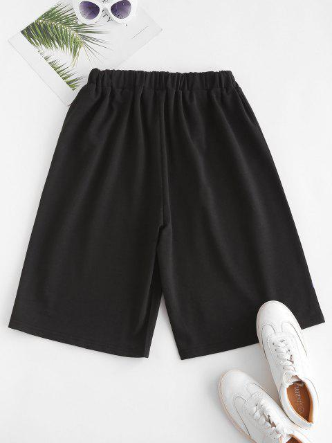 buy Flame Print High Waisted Sweat Shorts - ORANGE M Mobile
