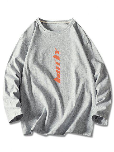 Letter Print Long Sleeve Basic T Shirt - اللون الرمادي 2XL Mobile