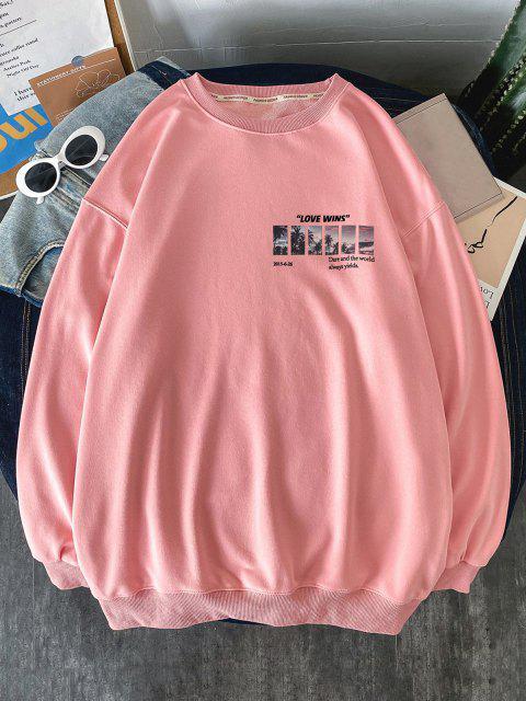 Palme Baumdruck Känguru Taschen Sweatshirt - Rosa S Mobile