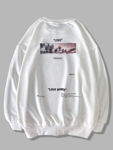 best Palm Tree Love Promise Letter Print Sweatshirt - WHITE 2XL Mobile
