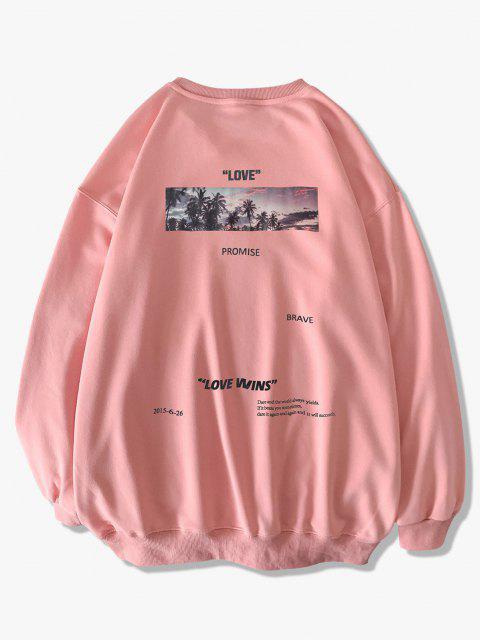 shop Palm Tree Love Promise Letter Print Sweatshirt - PINK 2XL Mobile