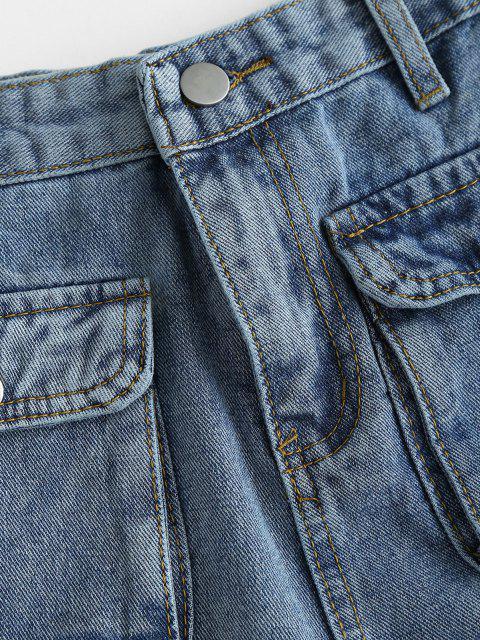 online Flap Pockets Denim Cargo Shorts - BLUE S Mobile