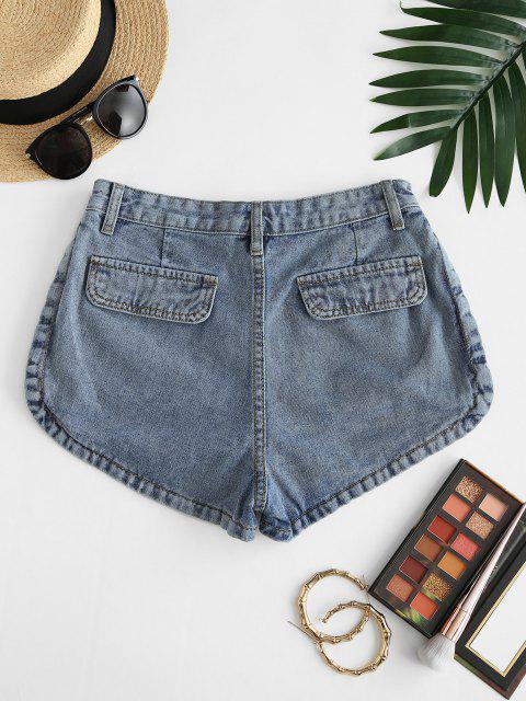 Klappe Taschen Denim Cargo Shorts - Blau M Mobile