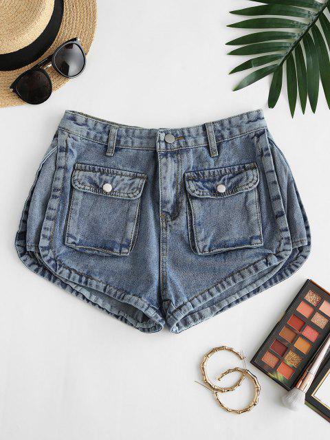Flap Pockets Denim Cargo Shorts - أزرق L Mobile