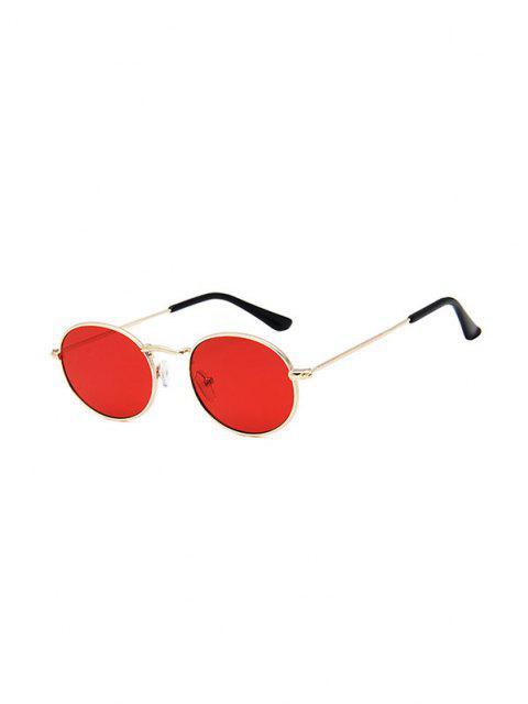 Metal Frame Retro Oval Sunglasses - أحمر  Mobile