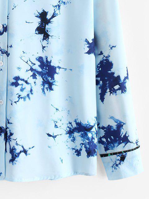 lady Tie Dye Long Sleeve Lounge Shirt - SILK BLUE S Mobile