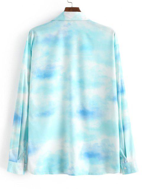 outfit Tie Dye Sky Print Button Up Shirt - CRYSTAL BLUE S Mobile
