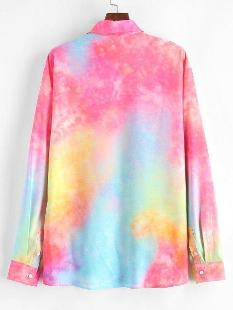 buy Colorful Tie Dye Print Button Up Shirt - PIG PINK M Mobile