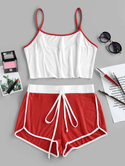 chic ZAFUL Contrast Trim Camisole And Dolphin Shorts Set - RED L Mobile