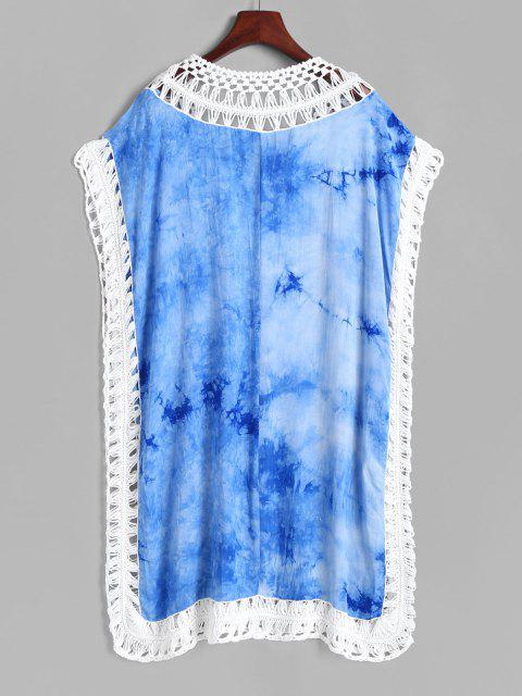 fancy Tie Dye Crochet Insert Tunic Beach Dress - BLUE ONE SIZE Mobile