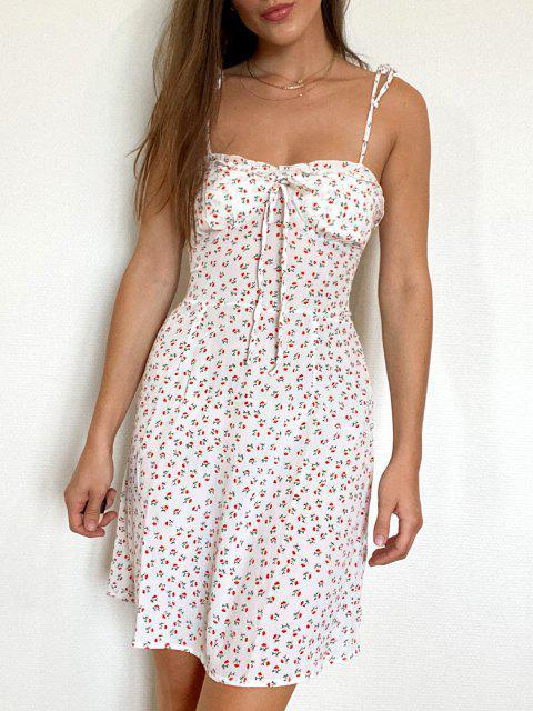 Tie Shoulder Ditsy Floral Lettuce Trim Mini Dress - أبيض S Mobile